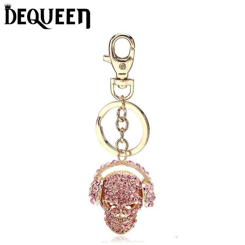 Evil Skull Rhinestone Keyring Charm Pendant Purse Bag Key font b Ring b font Chain Keychain