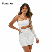 цена на Dower me One Shoulder Summer dresses High Elastic Long sleeve Knee-Length Casual Hollow out white women Short party Dress Y009