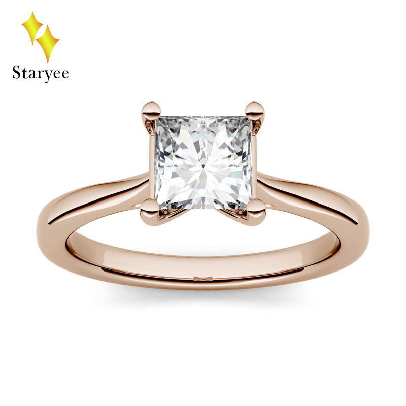 Genuine 18K Solid Rose Gold Moissanite Rings For Women Engagement&Wedding Princess Cut 0.9ct 5.5mm VVS DEF Free Shipping