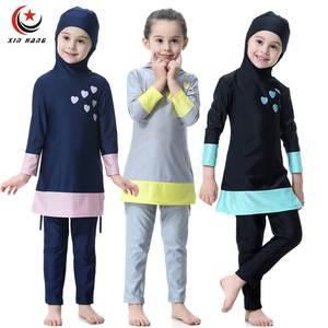 beec69e2fed42 Girls Full Cover Muslim Swimwears Two-piece Hoodie Swimsuits Islamic  Children Arab