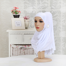 12 color Hot sale Women's Hijabs Muslim hijabs with flower/beads headscarves wrapped head scarf under cover soft scarf