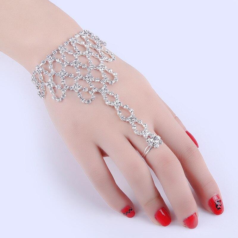 Женский свадебный браслет из бутика для невесты, модные ювелирные изделия из стекла, браслет на палец с бантом