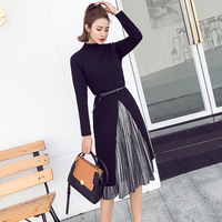 2019 Autumn Winter Velvet Dress Women Long Sleeve Knitted Sweater Dress Belt Streetwear Plus Size Two Pieces Dress vestidos