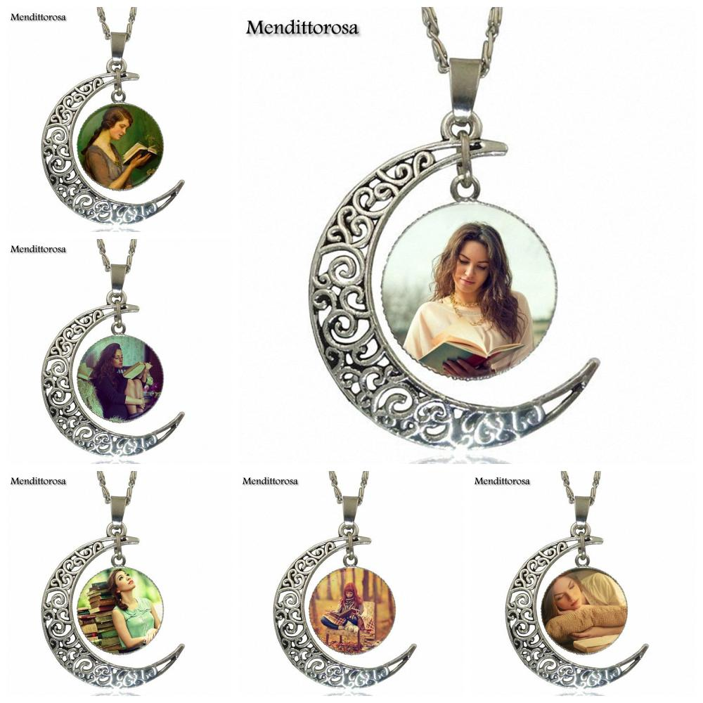 Mendittorosa Girl Read Books For Women Christmas Gift Vintage Jewelry Silver Plated With ...