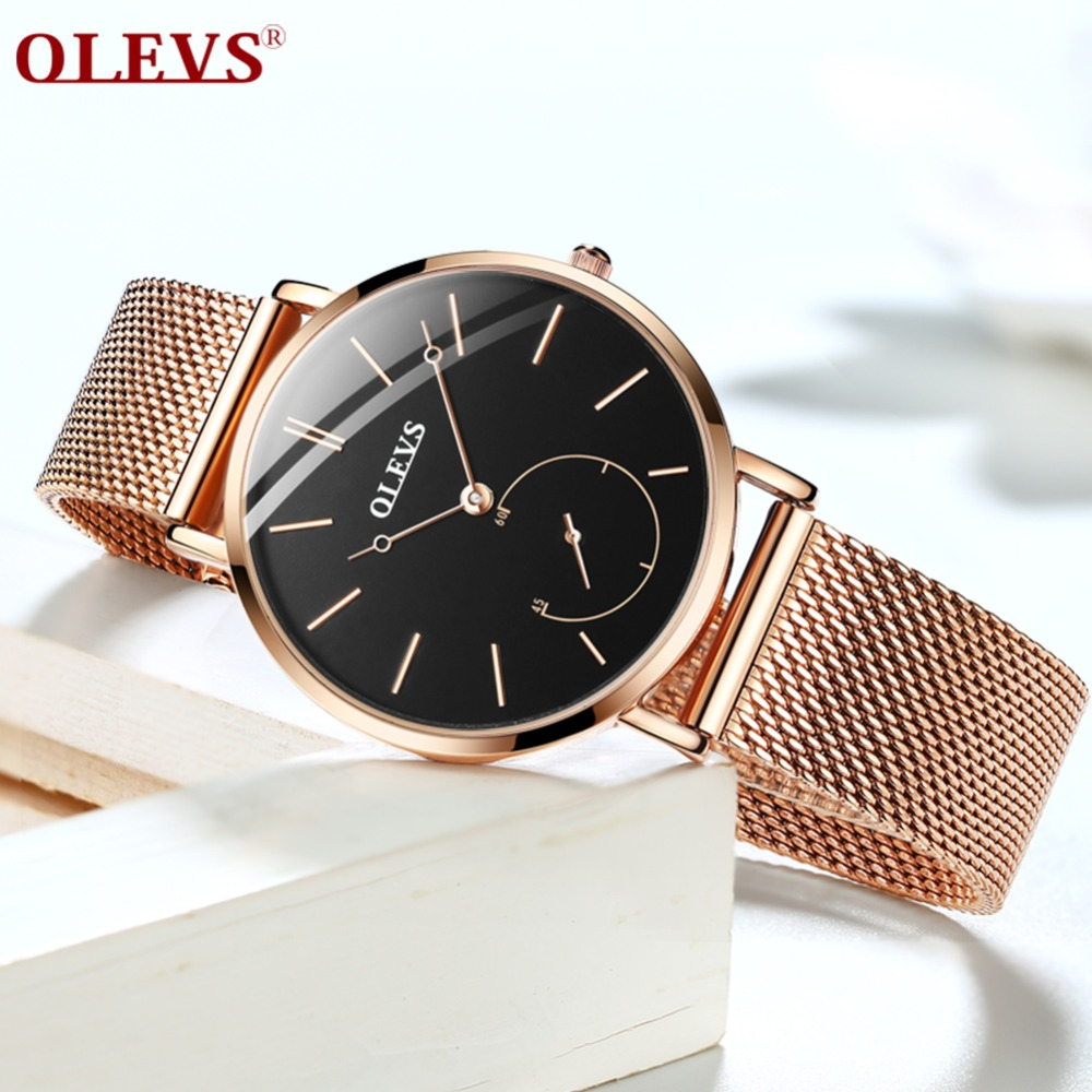 Horloges Vrouwen Fashion Wrist Quartz Watch Women Black Casual Ladies Dress Watches Rose Gold Mesh Stainless Steel Female Clock