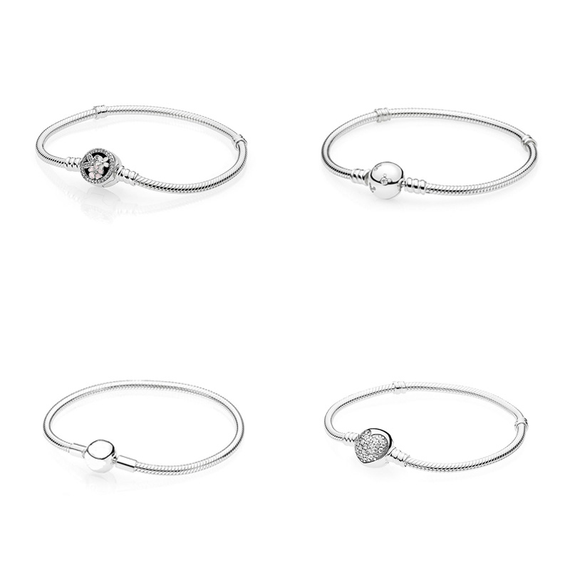 4 Style 925 Sterling Silver Charms Basic Bracelets For Women Flower Heart Mouse Bead Chain for Diy Beads Charm