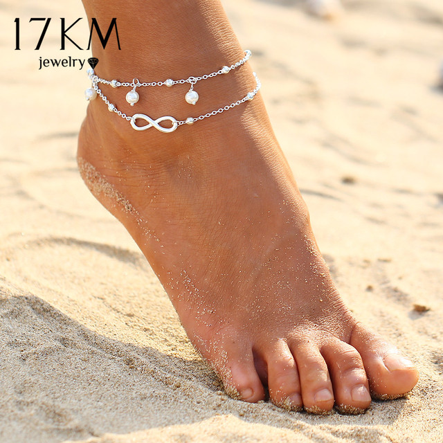 17KM 2016 Vintage Antique Silver Color Anklet Women Turquoise Beads Bohemian Ankle Bracelet cheville Boho Foot Jewelry