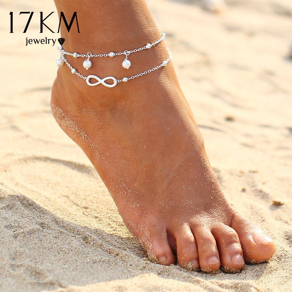 17KM Vintage Antique Silver Color Anklet Women Big Blue Stone Beads Bohemian Ankle Bracelet cheville Boho Foot Jewelry