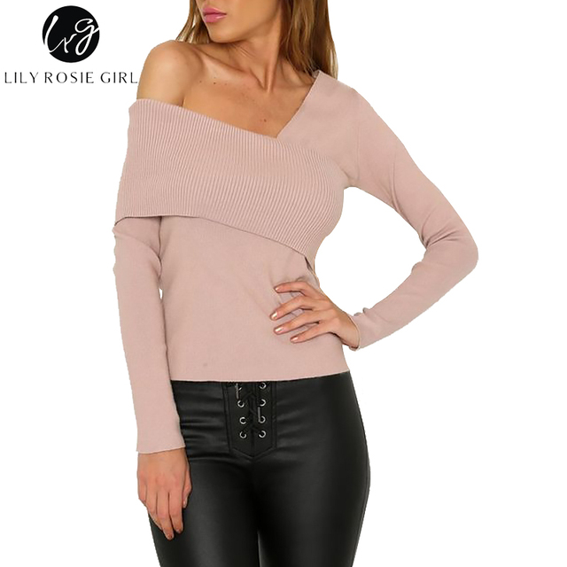8ea49088ef040 US $28.32 |Lily Rosie Girl Sexy Off Shoulder khaki Women Sweaters Long  Sleeve Blackless 2017 Autumn Winter Grey Knitted Pullovers Jumpers-in  Pullovers ...