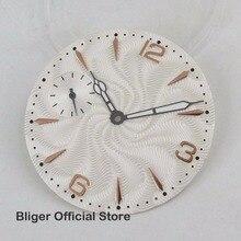 As Peças do Relógio simples 36.8 milímetros Branco Mostrador do Relógio de Marcação Estéril + Luminous Mãos Apto Para ETA 6497-1 6497 -2 3600 Mão Winding Movimento