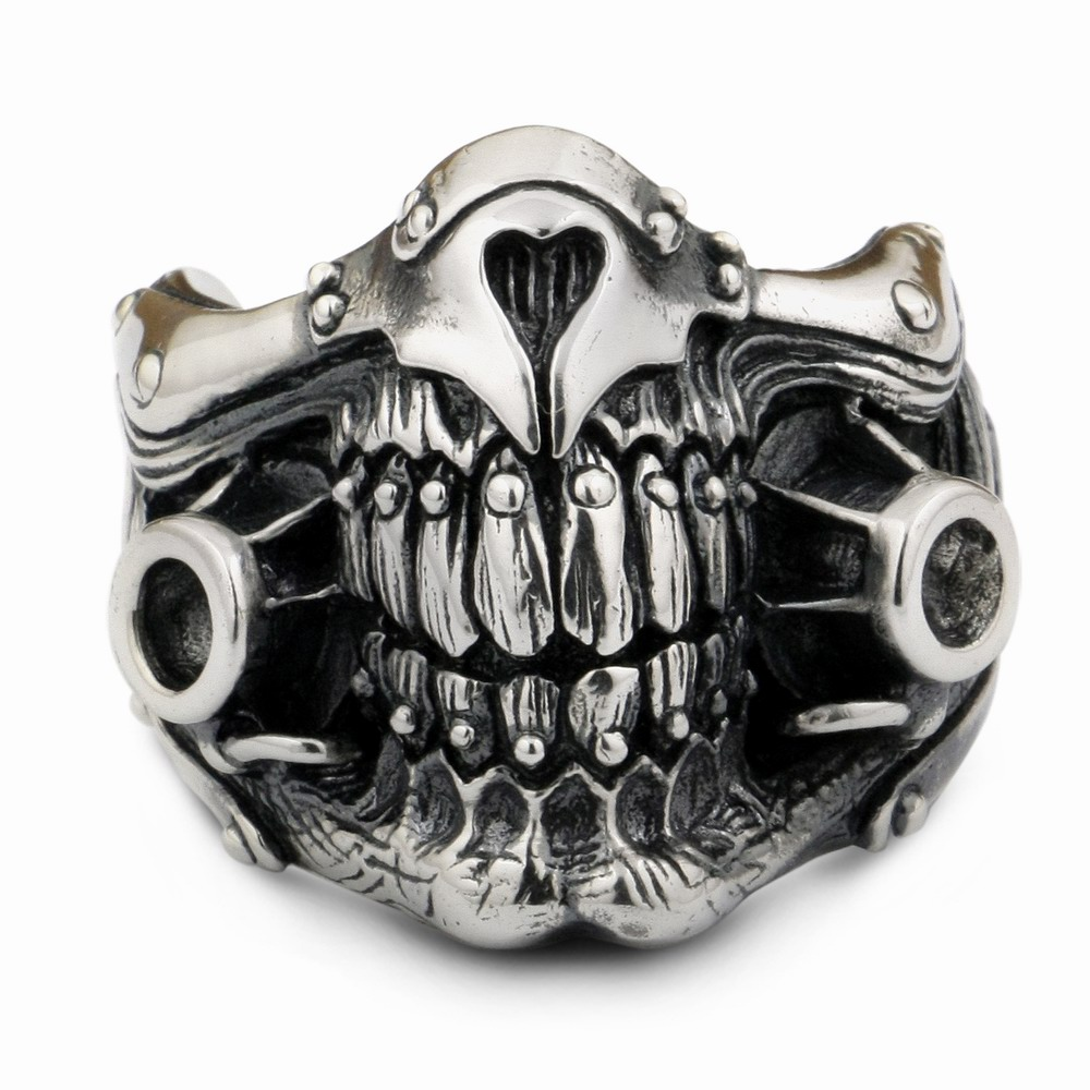 LINSION MAD MAX Immortan Joe Ring 925 Sterling Silver Mens Biker Punk - Bižuterie