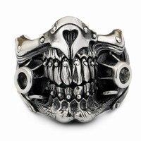 Linsion Безумный Макс IMMORTAN JOE кольцо стерлингового серебра 925 мужские Байкер Панк Череп Стиль 9y021 нам Размеры 7 до 15