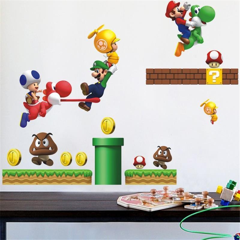 C Книги по искусству Ун Super Mario стены стикеры для Детская комната Книги по искусству Наклейка Фреска Домашний Декор дети детские наклейки на ...
