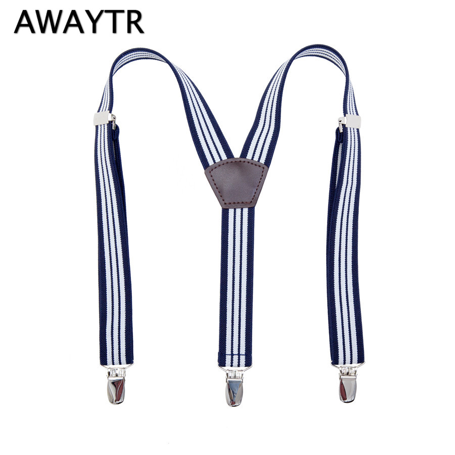 AWAYTR Suspenders for Men Women Navy White Striped Braces 110cm Casual Wear Braces 3 Clips On Clothing Suspensorio
