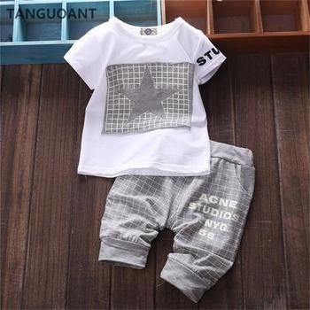 TANGUOANT gorąca sprzedaż Baby boy ubrania marki letnie ubrania dla dzieci zestawy t-shirt + spodnie garnitur gwiazda ubrania z nadrukiem noworodka dresy sportowe tanie i dobre opinie COTTON Na co dzień O-neck Swetry Krótki REGULAR Pasuje prawda na wymiar weź swój normalny rozmiar Suknem Płaszcz Geometryczne