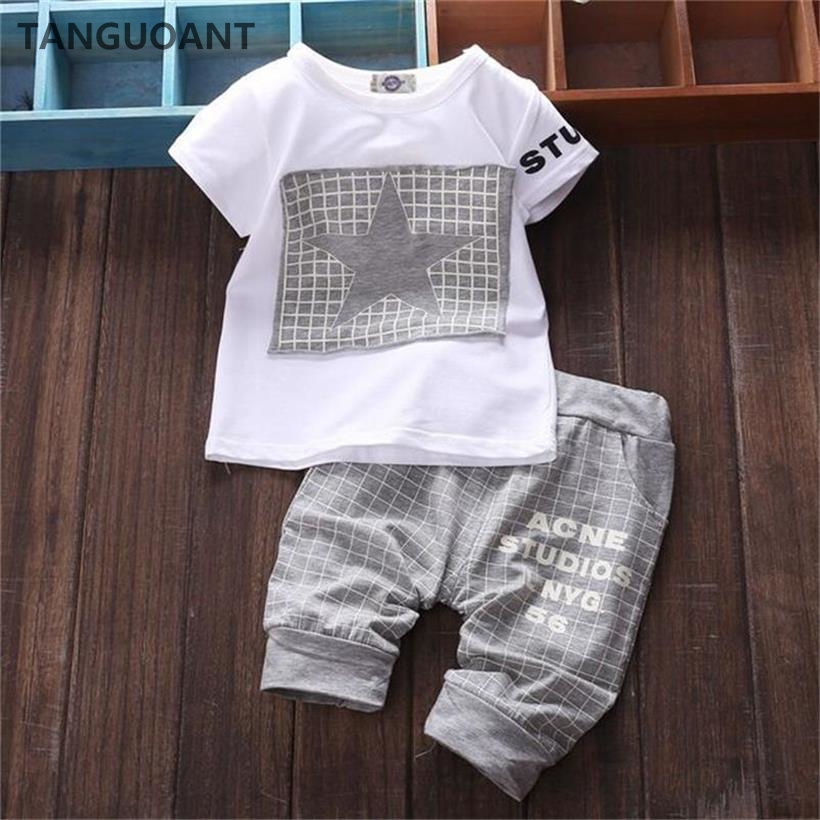Baby Summer Clothes Boys | TANGUOANT Hot Sale Baby Boy Clothes Brand Summer Kids Clothes Sets T Shirt+pants Suit Star Printed Clothes Newborn Sport Suits