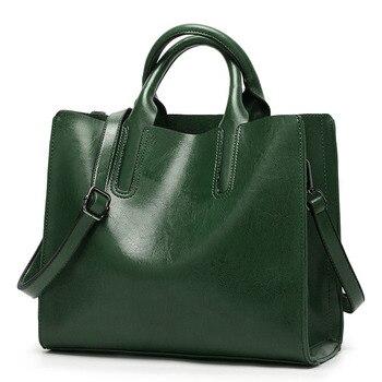 98d6314ed240 2018 Новая мода масло воск кожа для женщин сумка повседневное tote  брендовые кожаные зеленые женские сумки на плечо