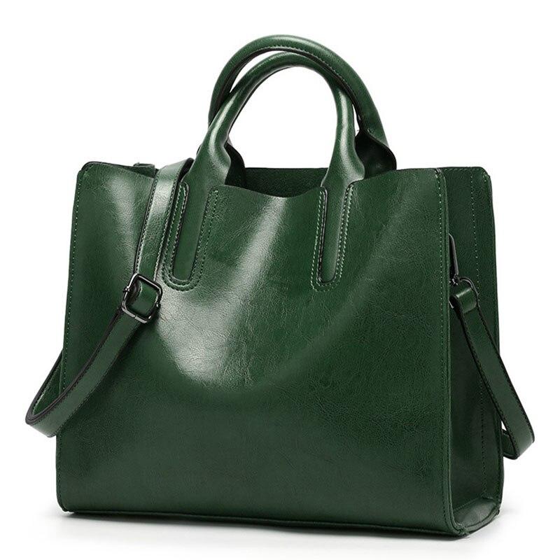 2018 Nouvelle cire d'huile de Mode en cuir de messager des femmes sac fourre-tout décontracté marque en cuir vert femelle d'épaule de sacs femmes sac à main