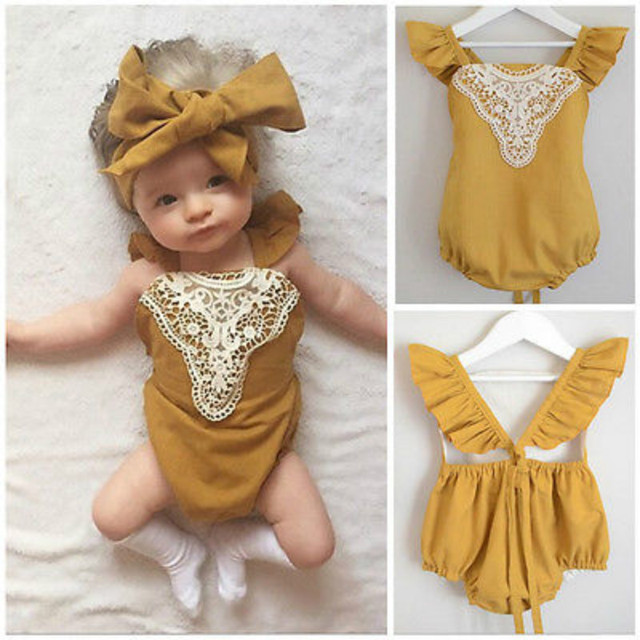 f244f5630416 Lace Baby Girl Clothes Toddler Infant Baby Girl Bodysuit Jumpsuit Lace  Sunsuit Outfits Clothes 0-