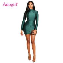 Adogirl Shiny Ruched Mini Evening Party Dresses Long Sleeve Bodycon Night Club Dress for Women Sheath Casual Outfits Vestidos