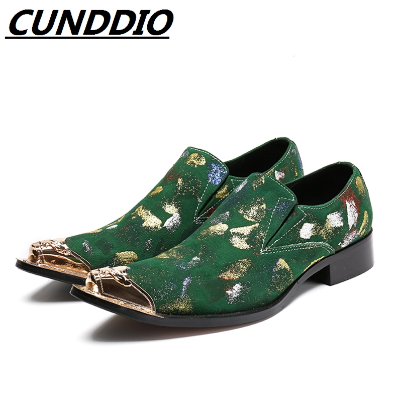 CUNDDIO Italian Fashion Formal Dress shoes Genuine leather Wedding male shoes  Steel-toed italian visual phrase book