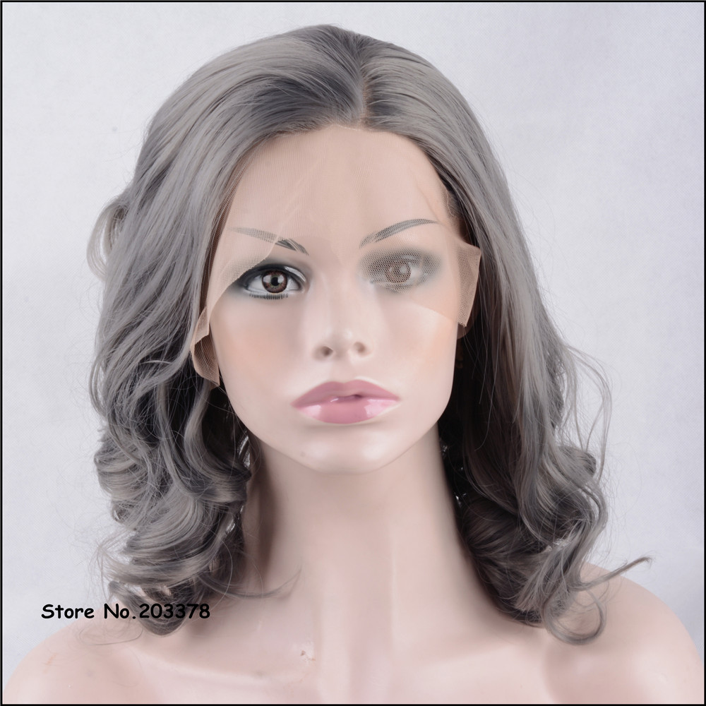 ФОТО Strong Beauty Synthetic Hair Short Wavy Grey/Gray Lace Front Wigs High Quality Full Wigs For Sexy Black Woman