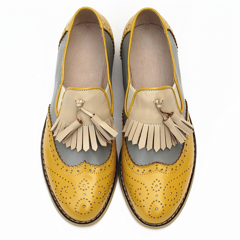 Women oxford Spring shoes genuine leather loafers for woman sneakers female oxfords ladies tassel single shoes