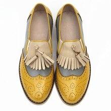 Kadın oxford bahar ayakkabı hakiki deri makosenler kadın sneakers kadın oxfords bayanlar püskül tek ayakkabı 2020 yaz ayakkabı