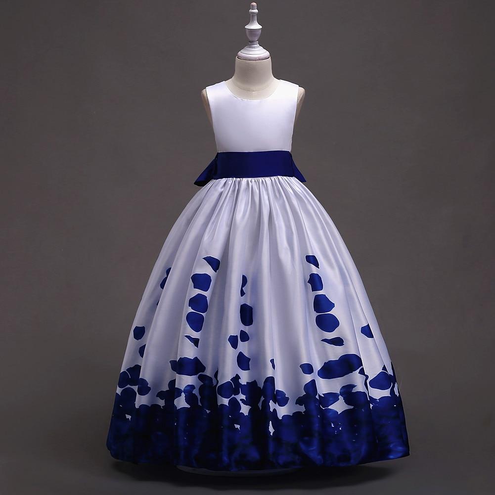 26fc6efb9da9aeb Детские платья для конкурсов и праздников для детей подростков модная  темно-синего, зеленого и белого цвета для девочек летнее платье принц.