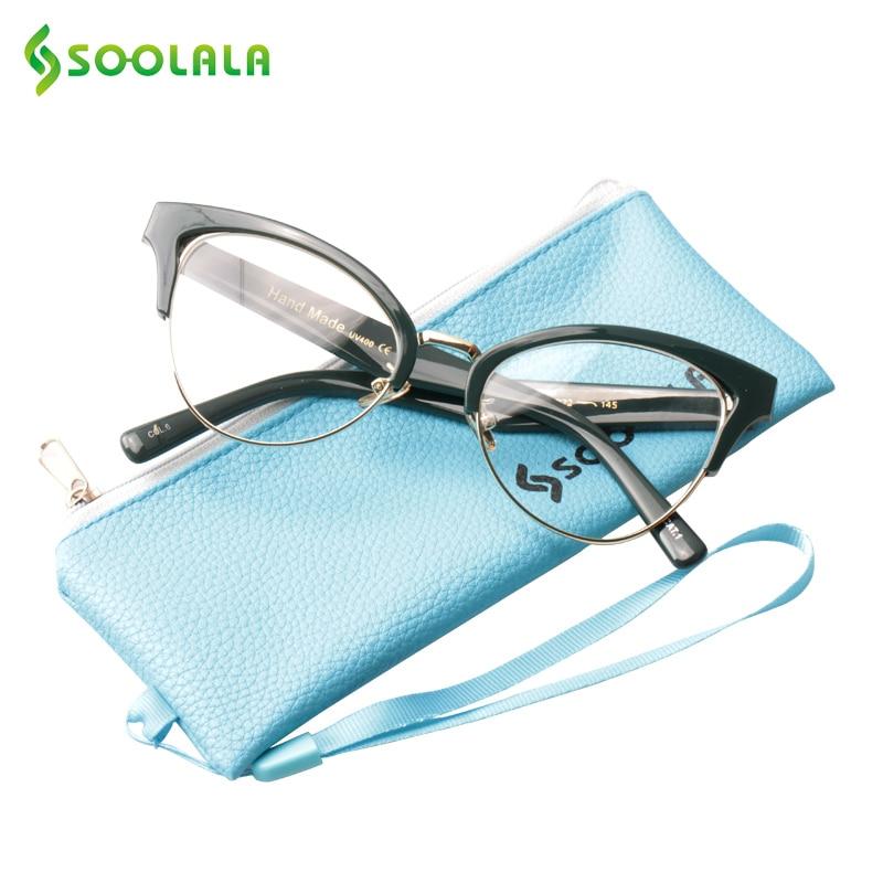 SOOLALA Semi-Rimless Reading Glasses Women Men Eyeglass Half Frame Cat Eye Presbyopic Reading Glasses With PU Case +0.5 To 4.0