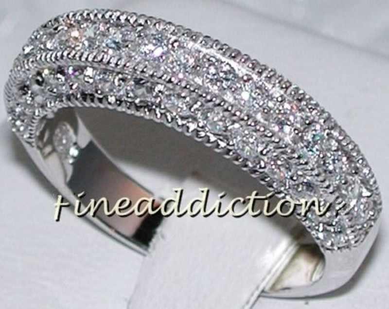 ファッションジュエリー 2 · イン · 1 婚約ジュエリー手作り宝石 5A ジルコン石 14KT ホワイトゴールド充填ウェディングバンドリングセット Sz 5-11