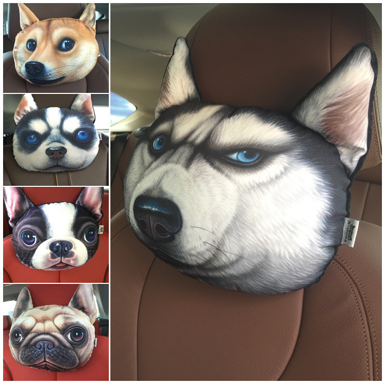 car headrest neck headres stuffed plush car holder,headrest,cushion chair seat cover 3D Print Dog Cat face Car seat head cushion шина nokian hakkapeliitta 9 suv tl 245 55 r19 107t