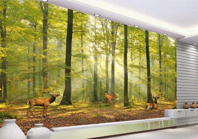 Custom mural foto d kamer behang noorse bos elanden woondecoratie
