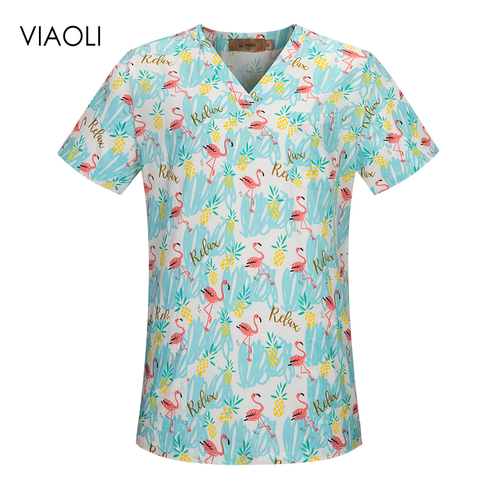 Hospital Nursing Medical Scrubs Clothing Dental Clinic Scrubs Tops Pet Doctor Nurse Uniforms Beauty Salon Printing Workwear Tops