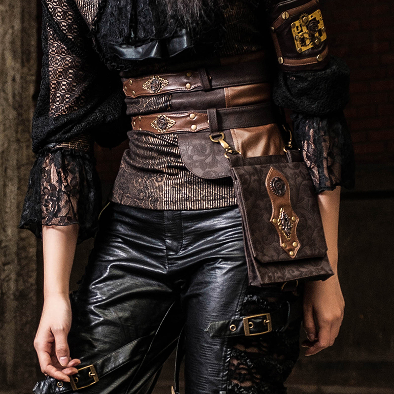 Unique femmes ceinture large PU ceinture en cuir avec un sac suspendu ceinture de taille dames vêtements accessoires femmes décorations ceintures