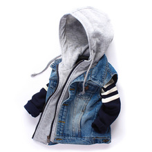 Children Denim Vests 2016 Spring Autumn Fashion Kid Boy Cowboy Waistcoats Coat Casual Hooded Zippered Jeans