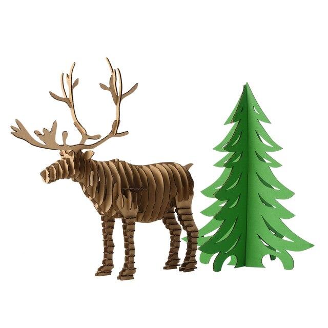 Dekoration Weihnachtsbaum und Rentier 3d Puzzle DIY Modell Papier ...