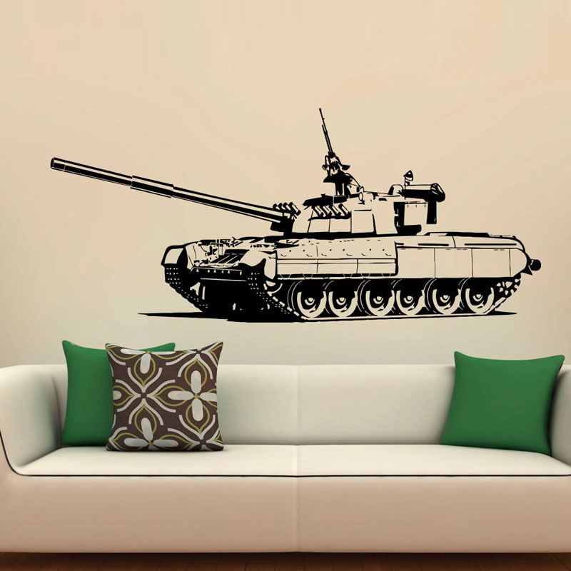 ZOOYOO Creative Heavy Army Tank Wall Sticker Home Decor Living Room Bedroom Decoration Kids Room Wall Decals