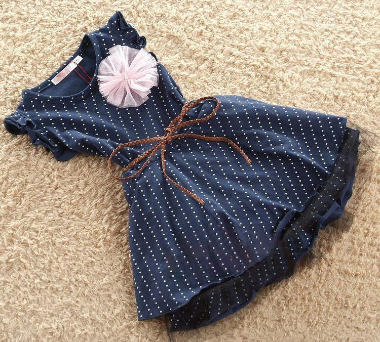 Girls Dresses 2015 New Fashion Top Quality Dark Blue Sleeveless Dots Stripe Flower Kids Girl Dress with Belt summer 1pc 2-7Y girls dress girl top quality dresses 100
