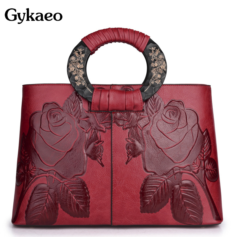 Gykaeo 2019 New Summer Women National Style Tote Bags Handbags Women Famous Brands Bride Red Flower