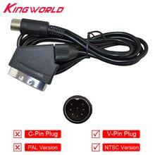 V Pin Plug NTSC US Scart Cable Audio Video AV Cable for SEGA Mega Drive for Genesis 1