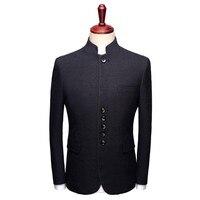 Slim Fit черный воротник стойка пиджак мужской формальные куртка Для мужчин китайский воротник костюм жениха свадебное платье Пиджаки вечерни