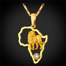 2016 African Jewelry Hip Hop Necklace Men Women Vintage Lion Pendant & Chain Platinum/Gold Plated Africa Map P1946