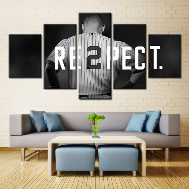 Hot New York Yankees Baseball Mlb Home Decoration Oil Painting Canvas Sport Logo Wall Artwork