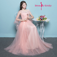 Gracefull Flower Decorated Light Tulle Prom Gowns Soft Pink Long Evening Dress Long Robe De Soiree