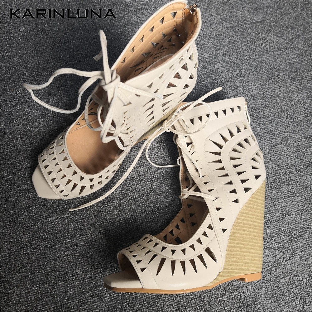 Luxury Brand Plus Size 47 Sexy High Heels Women Shoes Sandals Hollow Leisure Lady Summer Party Shoelaces Wedges Shoes WomanLuxury Brand Plus Size 47 Sexy High Heels Women Shoes Sandals Hollow Leisure Lady Summer Party Shoelaces Wedges Shoes Woman
