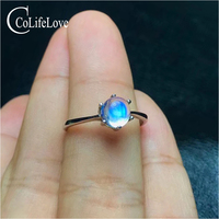 Round moonstone ring 5 mm natural moonstone silver ring for engagement solid 925 moonstone ring for woman birthday gift