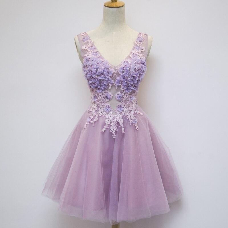 Livraison gratuite fleur violet clair perles applique col en v tutu robe/événement/robe de soirée