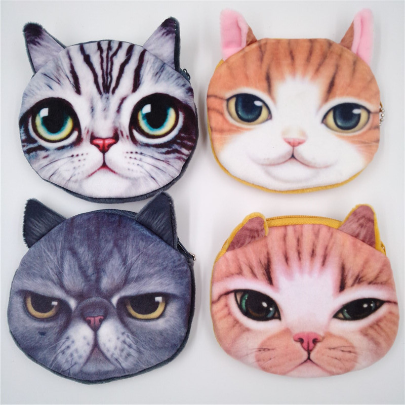 Hot Cute women coins purse dog cat face bag children plush card holder key case with keychain female monedero monedas para mujer girl coins purse printing zipper change clutch wallet bag cute emoji key bags monedero para monedas 7111