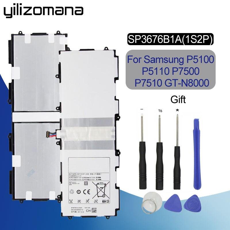 YILIZOMANA Original batería de repuesto SP3676B1A para Samsung Galaxy Tab Note 10,1 N8000 N8010 N8020 P7510 P7500 P5100 Tablet 7000 Mah